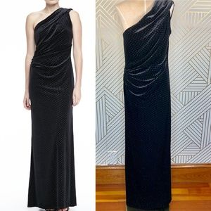 David Meister One-Shoulder Shimmery Velvet Gown
